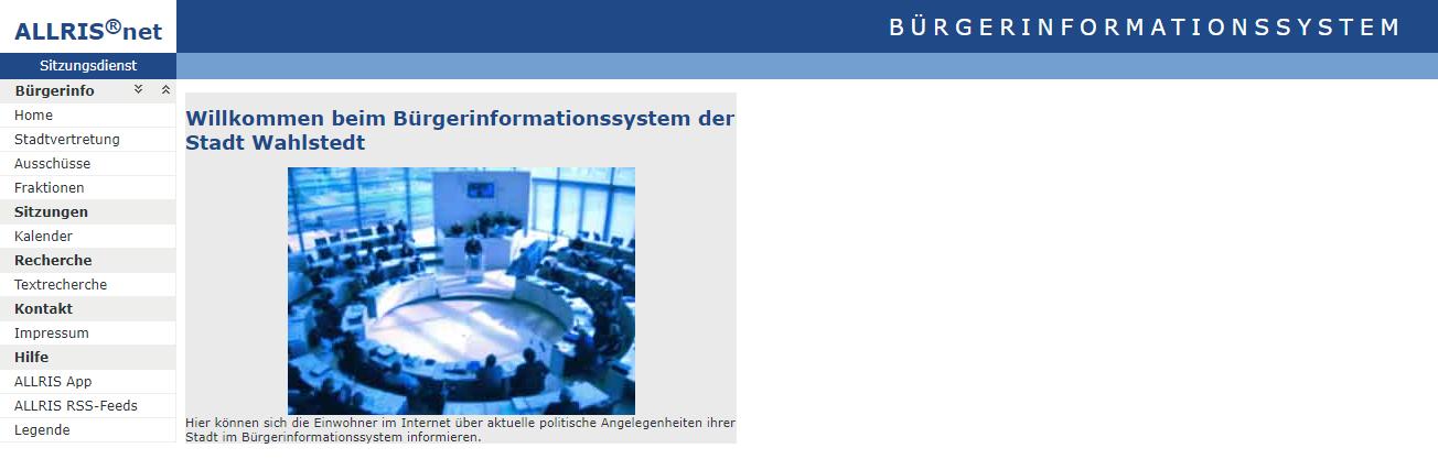 Das neue Bürgerinformationssystem der STADT WAHLSTEDT